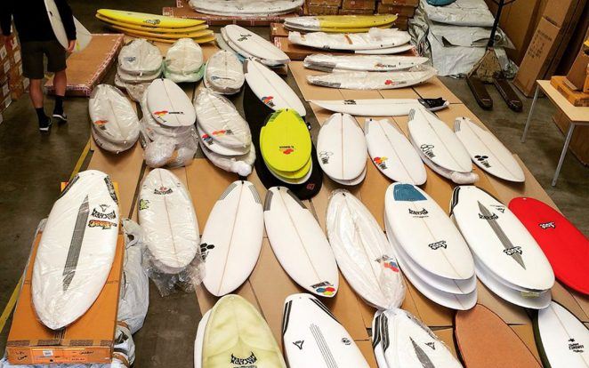 surfboards in the warehouse